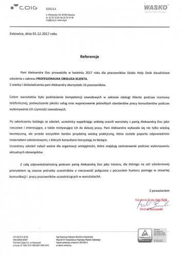 """Referencje COIG 2017 """"Profesjonalna obsługa klienta"""""""