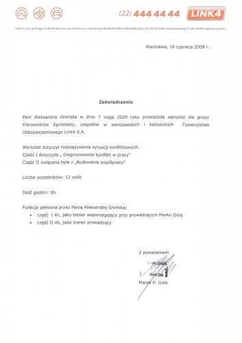 """Referencje Link4 """"Diagnozowanie, konflikt w pracy"""" & """"Budowanie współpracy"""""""