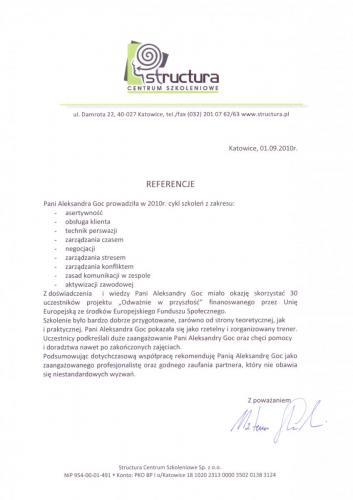 Referencje Structura Centrum Szkoleniowe